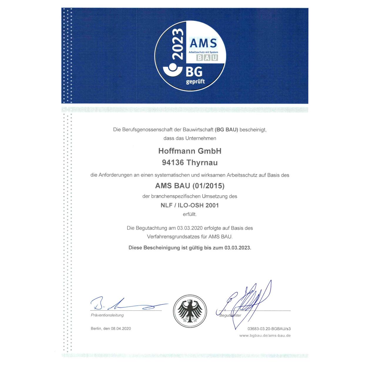 AMS Zertifizierung Hoffman Firmengruppe