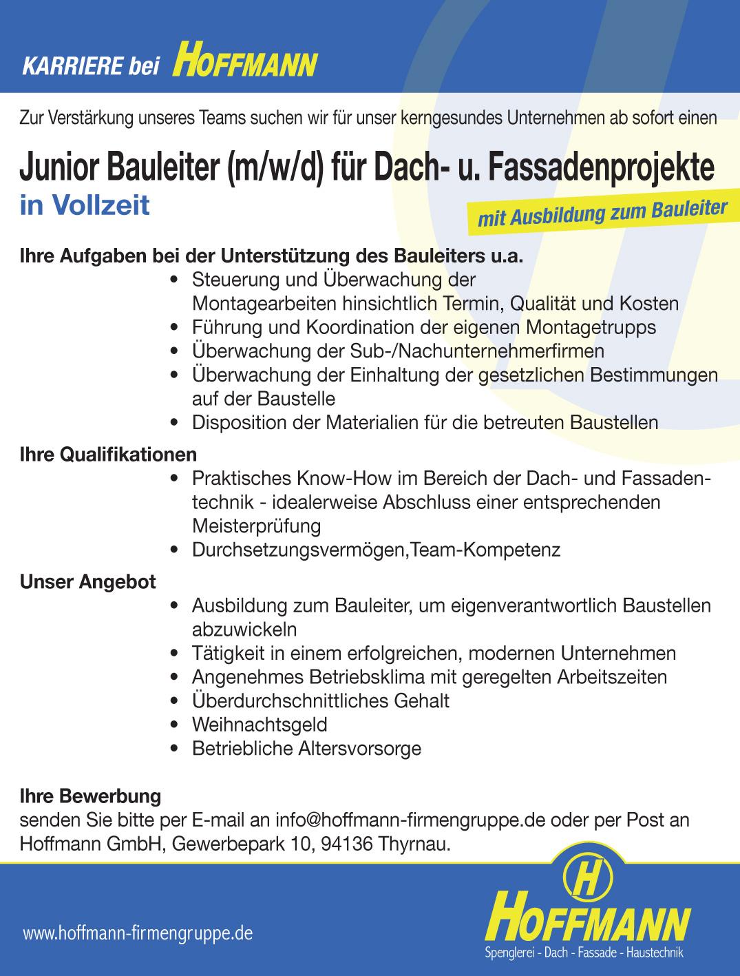 Job Stellenanzeige Hoffmann Junior Bauleiter (m/w/d) für Dach- u. Fassadenprojekte