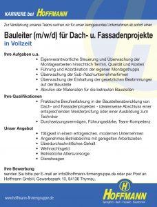 Job Stellenanzeige Hoffmann Bauleiter (m/w/d) für Dach- u. Fassadenprojekte