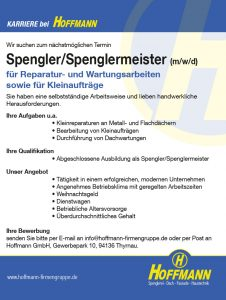 Hoffmann GmbH Job Karriere Stellenanzeige Spengler/Spenglermeister